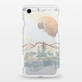 iPhone 8/7 StrongFit clear FRAMED SCENERY by Elizabeth Dioquinto (nature,mountain,animals,watercolors)