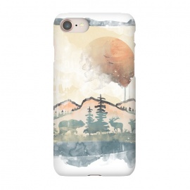 iPhone 7 SlimFit FRAMED SCENERY by Elizabeth Dioquinto (nature,mountain,animals,watercolors)