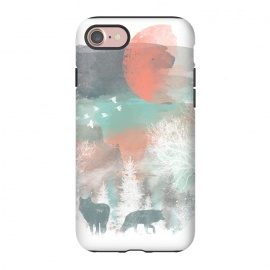 iPhone 8/7 StrongFit Winter Paint by Elizabeth Dioquinto (animals,winter,wolf,landscape,watercolor)