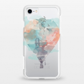 iPhone 8/7 StrongFit clear Fly and Free by Elizabeth Dioquinto (watercolor,hot air balloon,surrealism,birds,sky)