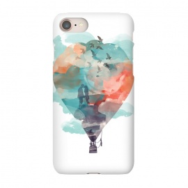 iPhone 8/7 SlimFit Fly and Free by Elizabeth Dioquinto (watercolor,hot air balloon,surrealism,birds,sky)