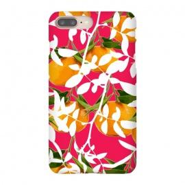 iPhone 8/7 plus  Hiding Mandarins (Pink) by  (mandarins,orange,oranges,nature,flora,floral,flowers,flower,botanical,fruits,fruit,fruit print,eat,food,cute,nice,vibrant,color,colorful,pink,white,white leaves)