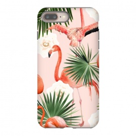 Flamingo Guava by Uma Prabhakar Gokhale (pattern, acrylic, flamingo, tropical, blush, pink, floral, exotic, palm, palm leaf, palm leaves, guava, juicy, fruit)