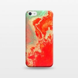 iPhone 5C  Sea Green and Coral by Uma Prabhakar Gokhale (acrylic, watercolor, pattern, coral, orange, bold, sea green, marble, water, paper marble, resin, exotic)