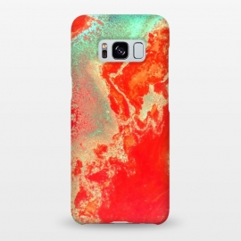 Galaxy S8+  Sea Green and Coral by Uma Prabhakar Gokhale (acrylic, watercolor, pattern, coral, orange, bold, sea green, marble, water, paper marble, resin, exotic)