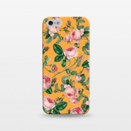 iPhone 5/5E/5s  Honey by Uma Prabhakar Gokhale (acrylic, pattern, floral, nature, blossom, bloom, tropical, orange, pink, exotic, botanical)