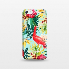 iPhone 5C  Hawaiian Vibe by Uma Prabhakar Gokhale (acrylic, watercolor, pattern, tropical, animal, bird, red, exotic floral, nature, palm, monstera, vibrant, bold, colorful, leaves, bird of paradise, botanical)
