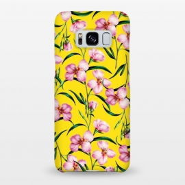 Galaxy S8+  Querencia by Uma Prabhakar Gokhale (graphic, acrylic, pattern, floral, tropical, bold, hot, exotic, botanical, nature, yellow, sunny, summer, pink, garden)
