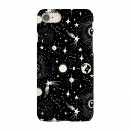 iPhone 7 SlimFit Solar System by Heather Dutton (celestial,space,outer space,solar,solar system,sky,black,black and white,vintage,vintage style,retro,retro style,star,stars,moon,sun,galaxy,constellation,constellations,comet)
