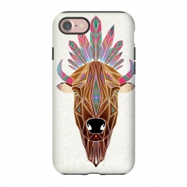 iPhone 8/7  bison by Manoou (bison,animal,wild,savage,feather,indian,portrait,geometrical,triangle,colors,color)