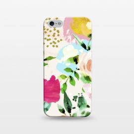 iPhone 5/5E/5s SlimFit Floral Blush by Uma Prabhakar Gokhale (acrylic, watercolor, pattern, floral, nature, blush, pink, exotic, tropical, gold, blossom, bloom, summer, flourish, happy, love, golden, polka dots, girly)