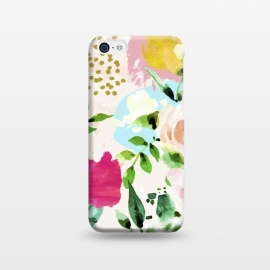 iPhone 5C  Floral Blush by Uma Prabhakar Gokhale (acrylic, watercolor, pattern, floral, nature, blush, pink, exotic, tropical, gold, blossom, bloom, summer, flourish, happy, love, golden, polka dots, girly)