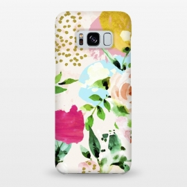 Galaxy S8+  Floral Blush by Uma Prabhakar Gokhale (acrylic, watercolor, pattern, floral, nature, blush, pink, exotic, tropical, gold, blossom, bloom, summer, flourish, happy, love, golden, polka dots, girly)