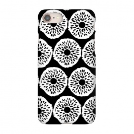 iPhone 7 SlimFit Ink Circles - White on Black by Olga Khomenko (minimal,minimalist,black and white,monochrome,monochromatic,circles,flowers,circle pattern,hand drawn,doodle,brushstroke,ink dots,dots,dot pattern,grunge,texture)