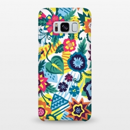 Galaxy S8+ SlimFit Tropical Flowers by Olga Khomenko (floral,flower,flowers,tropical,exotic,exotic flowers,tropical flowers,tropical pattern,pattern,tropical print,exotic pattern,illustration,floral illustration,flowers illustration,summer,geometric,geometric print)