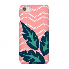 iPhone 7 SlimFit Tropical Leaves and Chevron by Olga Khomenko (pattern,pink,white,chevron,geometric,geometric pattern,green,leaf,leaves,tropical,tropical pattern,exotic,palm leaves,hand drawn)
