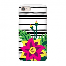 iPhone 7 SlimFit Tropical Bouquet by Olga Khomenko (pattern ,black and white,hot pink,magenta,green,yellow,stripes,horizontal stripes,flowers,flower,floral,floral pattern,tropical,exotic,palm leaves,leaf,geometric pattern)