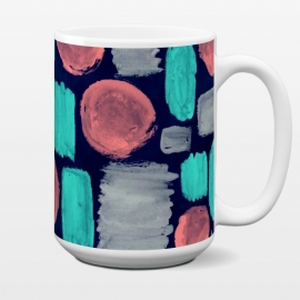 15 oz Standard Mug Watercolor Brushstrokes by Olga Khomenko (brushstroke,watercolor,hand drawn,pink,coral,aqua blue,turquoise,dark blue,gray,circle,dots,spot,geometric,geometric pattern,watercolor pattern,texture,doodle,vintage pattern,hipster)
