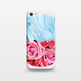 iPhone 5C  Unexpected Blossom by Uma Prabhakar Gokhale (collage, 3 d, agate, agates, tropical, floral, roses, pink, exotic, blue, navy blue, royal blue, blush, paint filter, geometric)