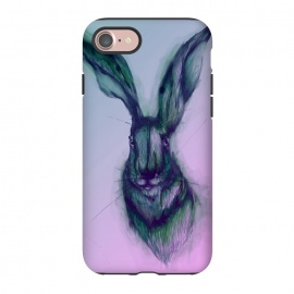 iPhone 8/7  Watercolor Hare by ECMazur  (hare,rabbit,bunny,pink,ombre,watercolor,animal,wildlife)