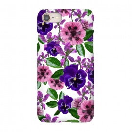 iPhone 7 SlimFit White Floral Garden by Zala Farah (flower,flowers,flora,floral,pink flowers,purple flowers,pink,purple,art,print,collage,floral collage,flower collage,floral art,garden,flower garden,botanical,vibrant,cute,pretty)