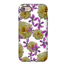 iPhone 8/7  Flowers + Purple Vines by Zala Farah (floral,flora,flower,flowers,flower collage,floral print,floral collage,floral pattern,floral art,flower art,flower pattern,flower print,botanical,botanic,yellow,yellow flowers,purple flowers,purple,nature)