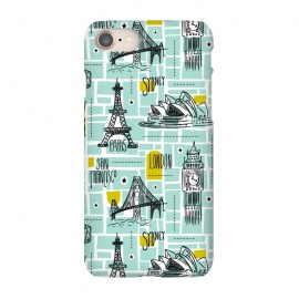 iPhone 7 SlimFit Globetrotter by Heather Dutton (map,maps,travel,wanderlust,paris,london,eiffel tower,illustration,graphic design,pattern,patterns,aqua,drawing,europe,vacation,destination,new york,explore,world,vector,typography,pop-art,vintage)