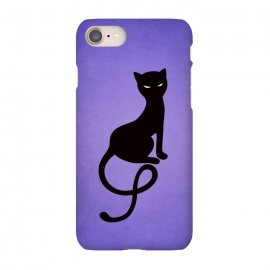 iPhone 8/7 SlimFit Purple Gracious Evil Black Cat by Boriana Giormova (cat,kitty,black cat,evil cat,evil,feline ,evil eyes,silhouette,purple,animal,feline,gothic,dark,evil kitty,black kitty)