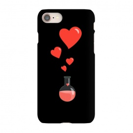 iPhone 8/7 SlimFit Flask Of Hearts Love Chemistry by Boriana Giormova (chemistry,flask,love,heart,hearts,pheromones,valentine,romance,romantic,science,geek,nerd,geeky,nerdy,cartoon,chemical,elixir,vial,laboratory,bubbles,spell,potion,magic,alchemy)