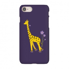 iPhone 8/7 SlimFit Cute Funny Rollerskating Giraffe by Boriana Giormova (giraffe,giraffes,animal,cute,funny,skate,skater,rollerskating,roller skates,skates,skating,flowers,smile,smiling,joy,joyful,cheerful,adorable,fun,cartoon,cute giraffe,cartoon giraffe,funny giraffe)