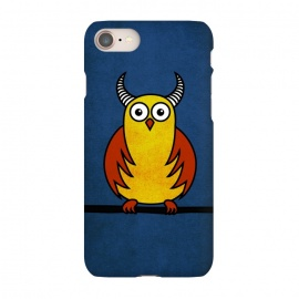 iPhone 8/7 SlimFit Funny Cartoon Horned Owl by Boriana Giormova (owl,owls,bird,cartoon,fun,animal,funny,humor,humorous,horn,horned,horns,horned owl,cartoon owl,funny owl)