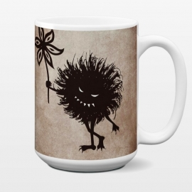15 oz Standard Mug Evil Bug Gives Flower by Boriana Giormova (character,flower,creature,cartoon,evil,evil bug,evil creature,evil character,texture,dark,goth,gothic,vintage,funny,fun,grin,grinning,teeth,evil smile,evil eyes)