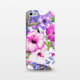 iPhone 5/5E/5s  Purple Blossom by Uma Prabhakar Gokhale (acrylic, watercolor, pattern, floral, purple, pink, nature, flowers, tropical, exotic, botanical, bloom, blossom, petals, hibiscus, roses)