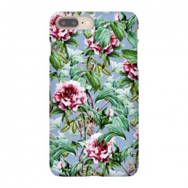 iPhone 8/7 plus  Frosty Florals by  (graphic, pattern, floral, botanical, flowers, nature, exotic, frosty, blossom, bloom, blue, teal, green, pink, blush)