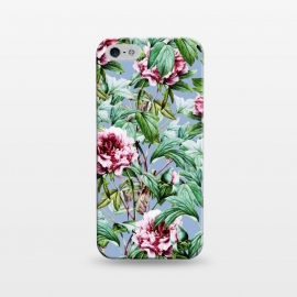 iPhone 5/5E/5s  Frosty Florals by Uma Prabhakar Gokhale (graphic, pattern, floral, botanical, flowers, nature, exotic, frosty, blossom, bloom, blue, teal, green, pink, blush)