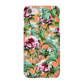 iPhone 7 SlimFit Frosty Florals V2 by Uma Prabhakar Gokhale (graphic, acrylic, pattern, floral, nature, botanical, exotic, blossom, orange, coral, tropical, flowers, roses, carnations)