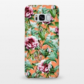 Galaxy S8+  Frosty Florals V2 by Uma Prabhakar Gokhale (graphic, acrylic, pattern, floral, nature, botanical, exotic, blossom, orange, coral, tropical, flowers, roses, carnations)