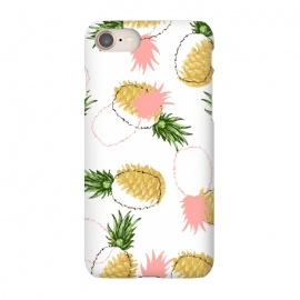 iPhone 7 SlimFit Pineapples & Pine Cones by Uma Prabhakar Gokhale (graphic, acrylic, pattern, food, pineapple, fruit, fruit pattern, tropical, sweet, nature, gold, golden, pine cones, exotic)