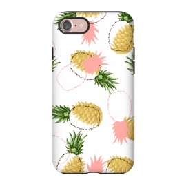 iPhone 8/7  Pineapples & Pine Cones by Uma Prabhakar Gokhale (graphic, acrylic, pattern, food, pineapple, fruit, fruit pattern, tropical, sweet, nature, gold, golden, pine cones, exotic)
