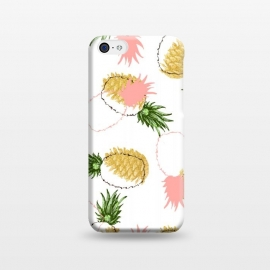iPhone 5C  Pineapples & Pine Cones by Uma Prabhakar Gokhale (graphic, acrylic, pattern, food, pineapple, fruit, fruit pattern, tropical, sweet, nature, gold, golden, pine cones, exotic)