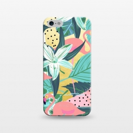iPhone 5/5E/5s  Flamingo Tropical by Uma Prabhakar Gokhale (graphic, acrylic, watercolor, pattern, animals, flamingo, tropical, nature, exotic, botanical, island, birds, pink, teal, green)