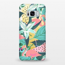 Galaxy S8+  Flamingo Tropical by Uma Prabhakar Gokhale (graphic, acrylic, watercolor, pattern, animals, flamingo, tropical, nature, exotic, botanical, island, birds, pink, teal, green)