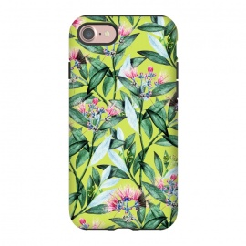 iPhone 8/7  Floral Cure by Uma Prabhakar Gokhale (acrylic, watercolor, pattern, floral, blossom, exotic, tropical, green, greenery, bloom, flowers, leaves, pink)