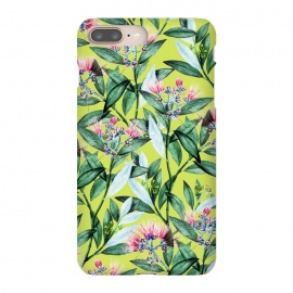 iPhone 8/7 plus  Floral Cure by  (acrylic, watercolor, pattern, floral, blossom, exotic, tropical, green, greenery, bloom, flowers, leaves, pink)