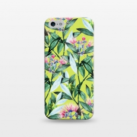iPhone 5/5E/5s  Floral Cure by Uma Prabhakar Gokhale (acrylic, watercolor, pattern, floral, blossom, exotic, tropical, green, greenery, bloom, flowers, leaves, pink)