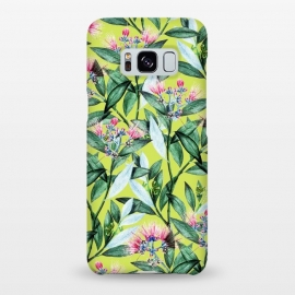 Galaxy S8+  Floral Cure by Uma Prabhakar Gokhale (acrylic, watercolor, pattern, floral, blossom, exotic, tropical, green, greenery, bloom, flowers, leaves, pink)