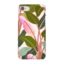 iPhone 7 SlimFit Color Paradise by Uma Prabhakar Gokhale (graphic, watercolor, pattern, rubber plant, tropical, leaves, blush, green, exotic, nature, collage)
