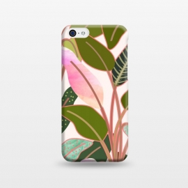 iPhone 5C  Color Paradise by Uma Prabhakar Gokhale (graphic, watercolor, pattern, rubber plant, tropical, leaves, blush, green, exotic, nature, collage)