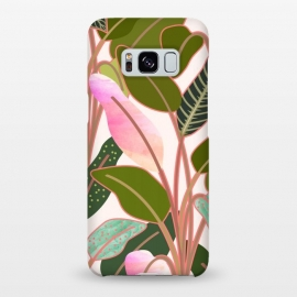 Galaxy S8+  Color Paradise by Uma Prabhakar Gokhale (graphic, watercolor, pattern, rubber plant, tropical, leaves, blush, green, exotic, nature, collage)