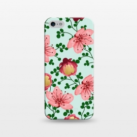 iPhone 5/5E/5s  Blush Vines by Uma Prabhakar Gokhale (graphic, acrylic, watercolor, pattern, floral, gold, golden, tropical, blush, pink, candy, botanical, nature, vines, blossom, bloom, flowers)